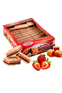 Livia waffers  strawberries double cream and caramel,2Kg